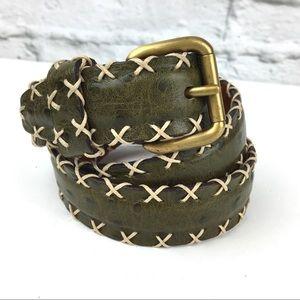 Jean Louis Fernandez belt 32 green French Leather